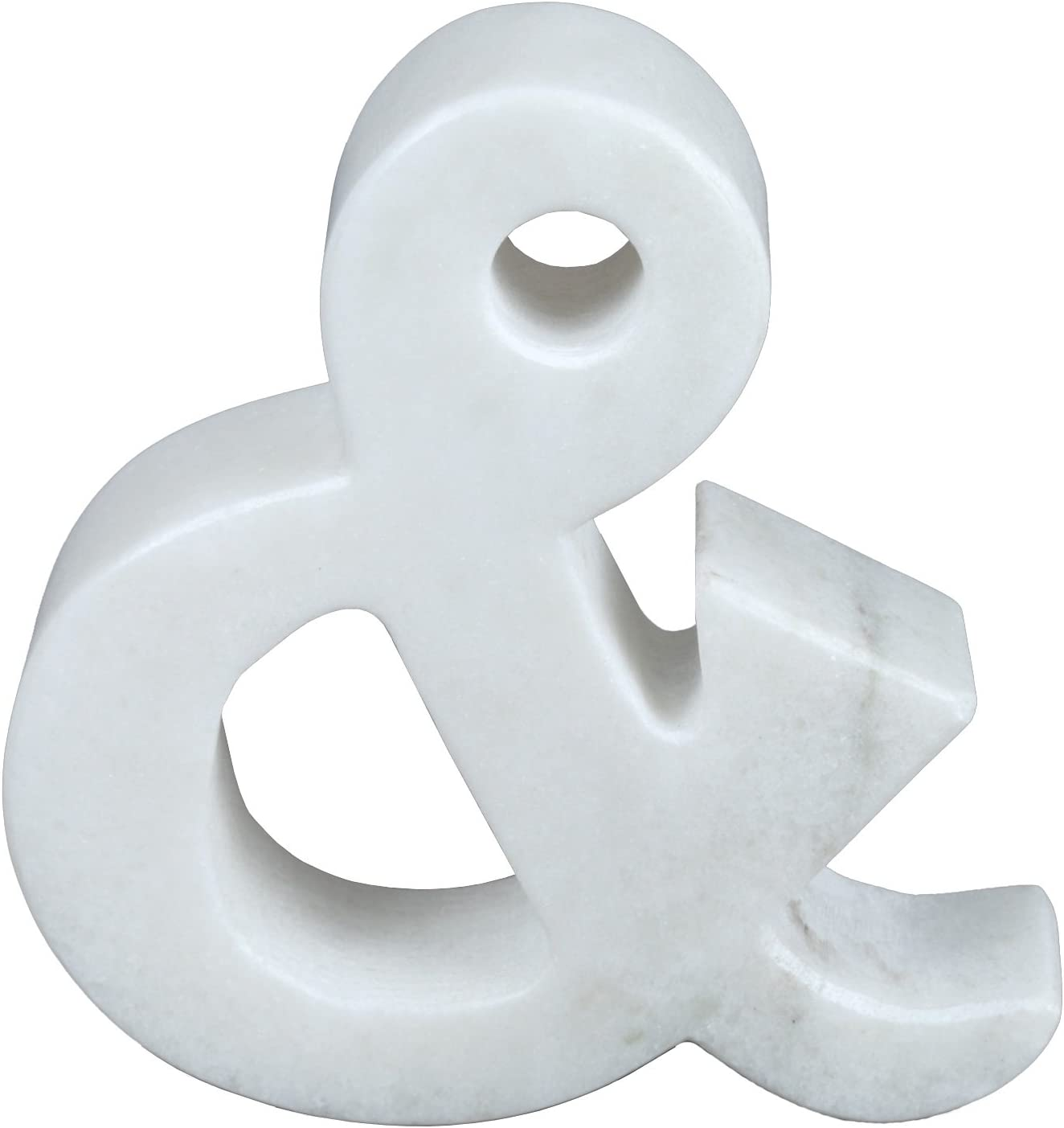 """Creative Home 74864 Natural Marble Stone Letter Ampersand, Bookends, Paper Weight, 5.5"""" W x 5-7/8"""" H, 1-1/2"""" D, Off-White (patterns may very)"""