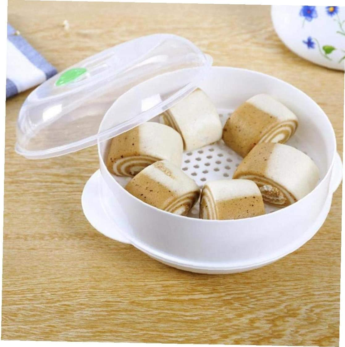 Plastic Single-layer Microwave Oven Steamer Plastic Round Steamer Microwave Steamer with Lid Cooking Tool