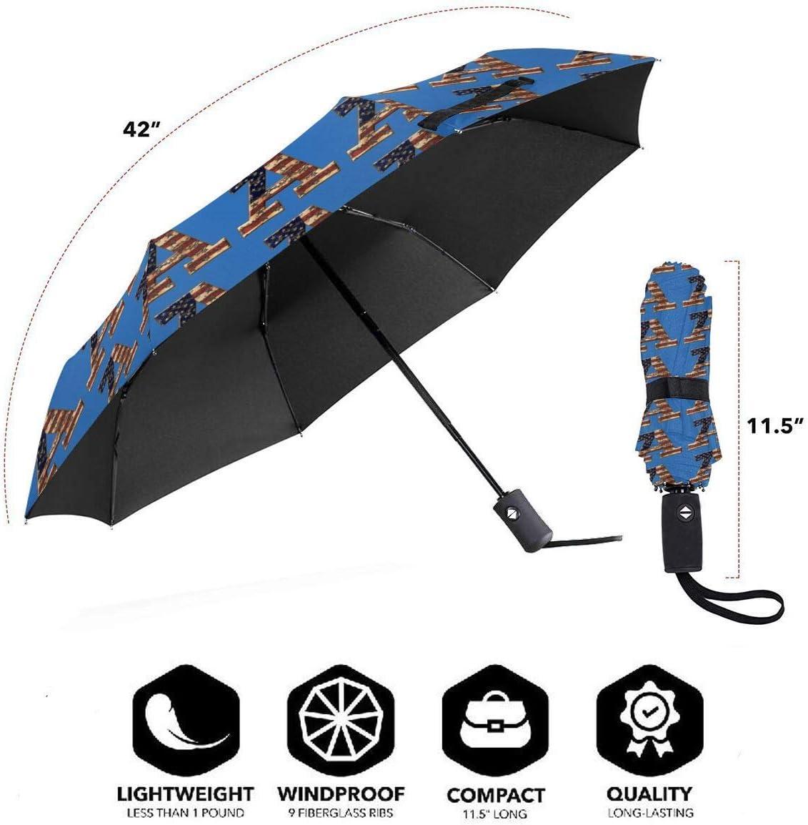 American Flag A Automatic Tri-Fold Umbrella Parasol Sun Umbrella Sunshade