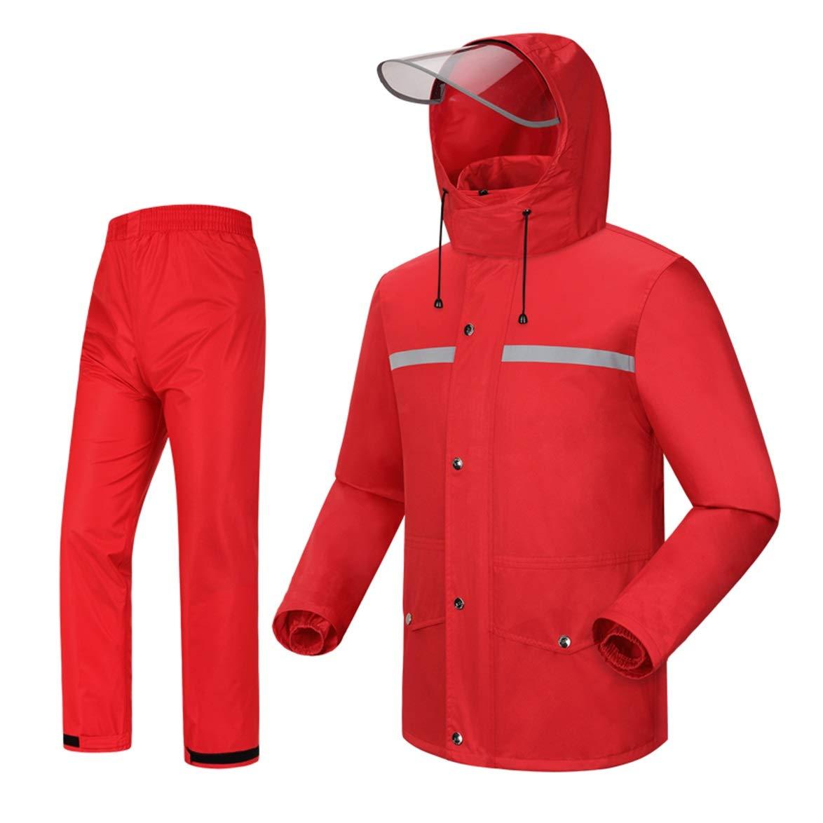 LAXF-Regenbekleidung Regenmantel mit Kapuze, Regenanzug für Männer wasserdicht Radfahren Motorrad Reiten Golf 2-teiliger Anzug rot
