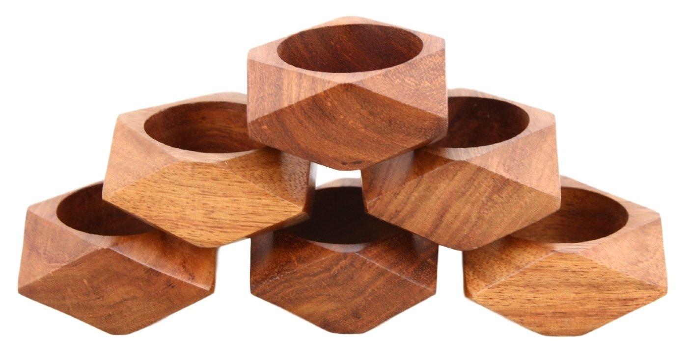 ShalinIndia Handmade Wedding Party Decorations Wooden Napkin Rings Set of 6 for Dinner Ideas