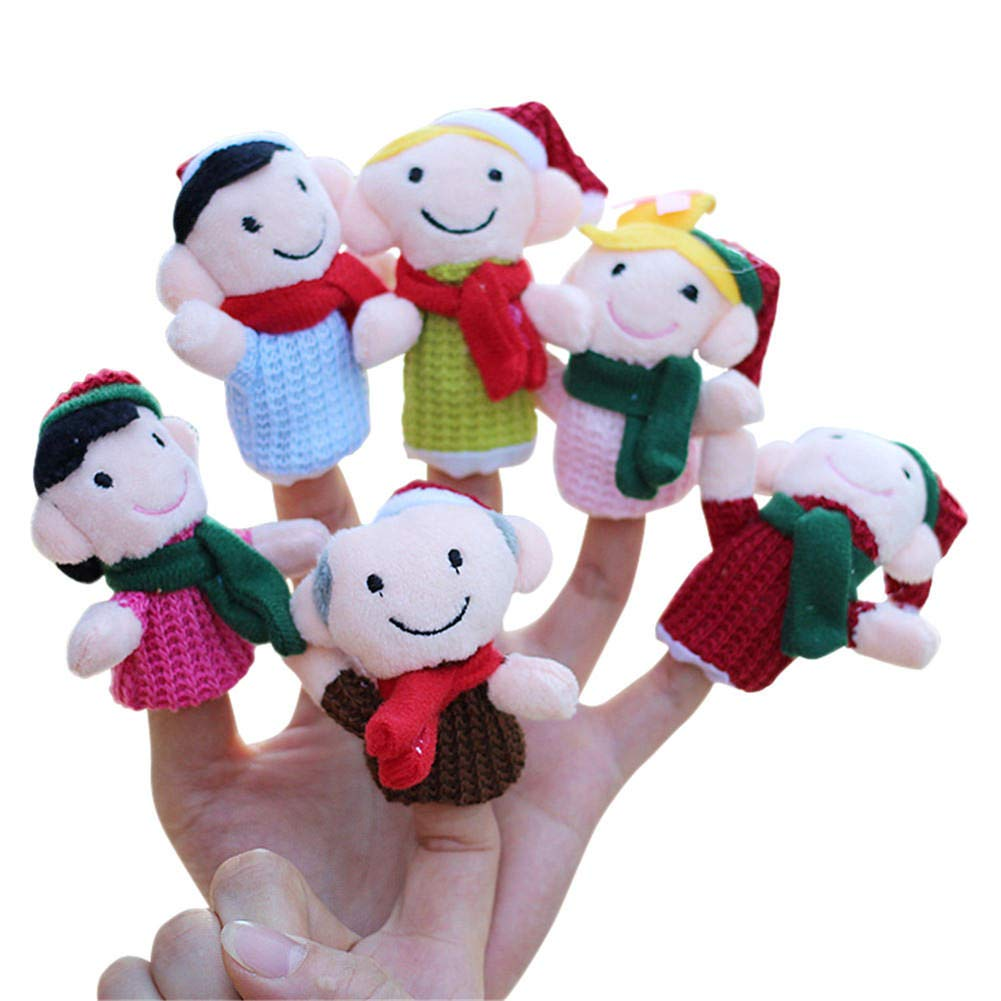 Drasawee Christmas Educational Story Props Play Doll Lovely Finger Puppets Toy for Kids 6pcs XWJ-H004