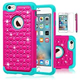 iPhone 6S Case,EC™ [Shockproof] Apple iPhone 6S Case, Heavy Duty Dual Layer Hybrid Stud Rhinestone Bling Protection Cover Case for Apple iPhone 6S / 6 (Rose/Teal)