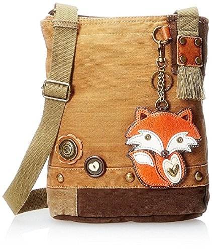 Chala Handbag Brown Canvas Compact Cross-body Tote Bags with Fox Coin Purse and Zipper (Denim Lined Tote)