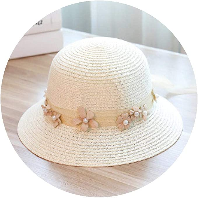 Fortune-god Sun Flat Straw hat for Girls Bow Hats and Beach Flat Straw hat