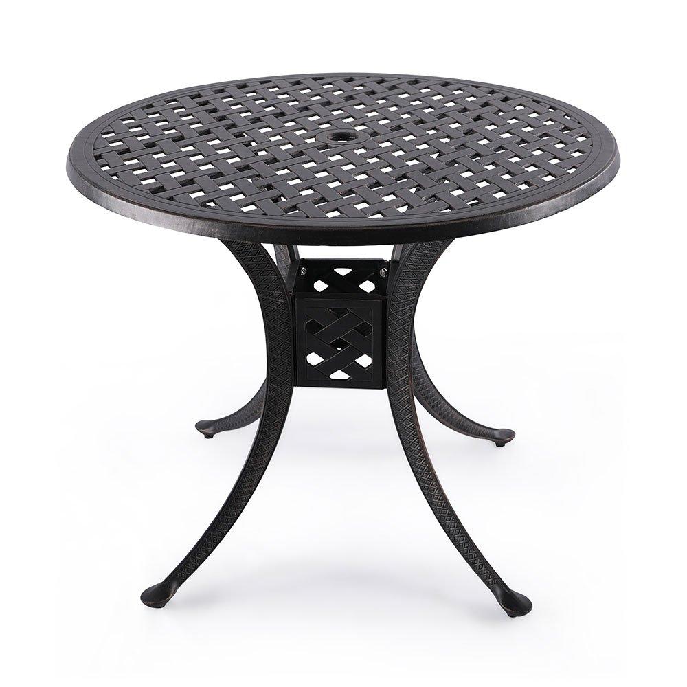 Nuu Garden 36'' Indoor Outdoor Patio Bistro Solid Cast Aluminum Round Dining Conversation Table CT002, Antique Bronze