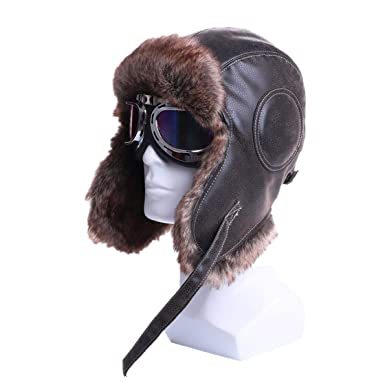 e93a09fe0766c Winter Bomber Hats Mens Plush Goggles Trapper Aviator Pilot Hat Faux Leather  Fur Snow Caps at Amazon Men s Clothing store