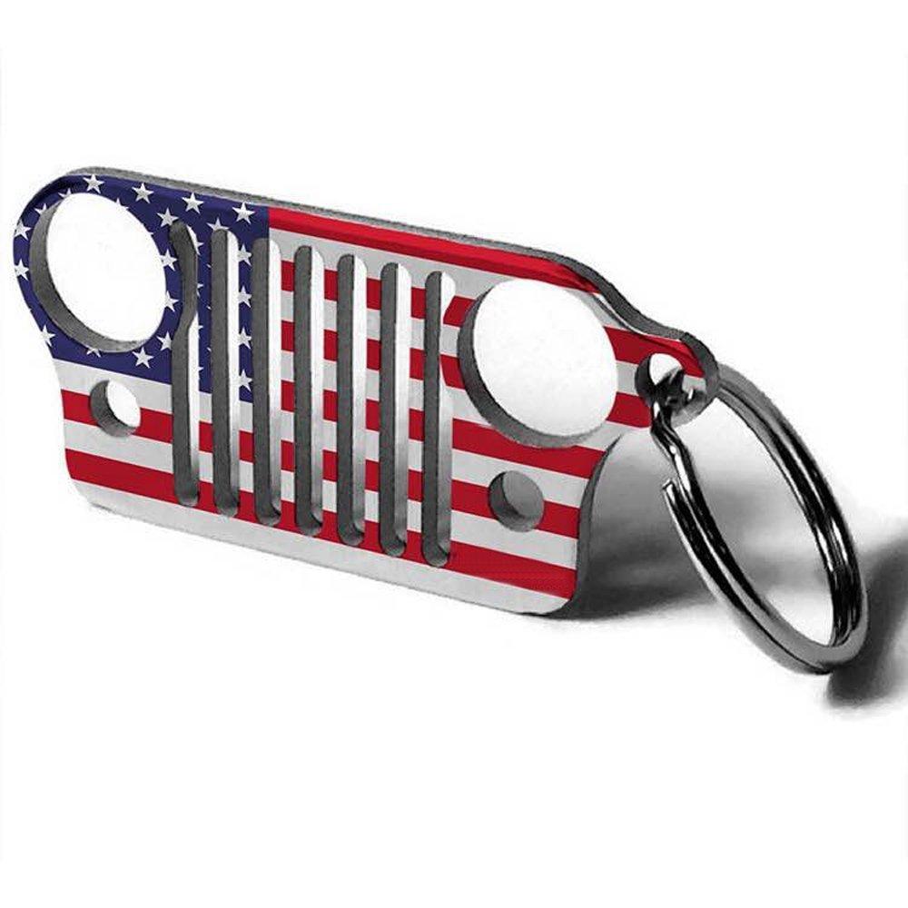 Cara Jeep Keychains Stainless Steel Jeep Grille Keychain American Flag Keychain Keyring CJ JK TJ YJ XJ Cara Store
