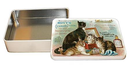 Gatos en una caja lata de metal decorativa de perfume Vintage ...
