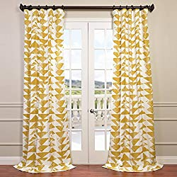 Half Price Drapes PRTW-D35-96 Triad Printed Cotton Twill Curtain, 50 x 96, Gold