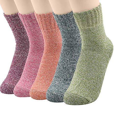 Zando Women's Winter Thick Knit Soft Warm Wool Crew Socks 3-5 Pack 5 Pack – Solid