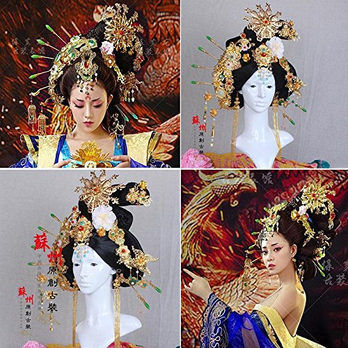 Fengqiu Huang headdress costume ancient Royal Queen Goddess full set of jewelry tassel step shake Bob Han Chinese clothing Coronet for women girl lady by Generic