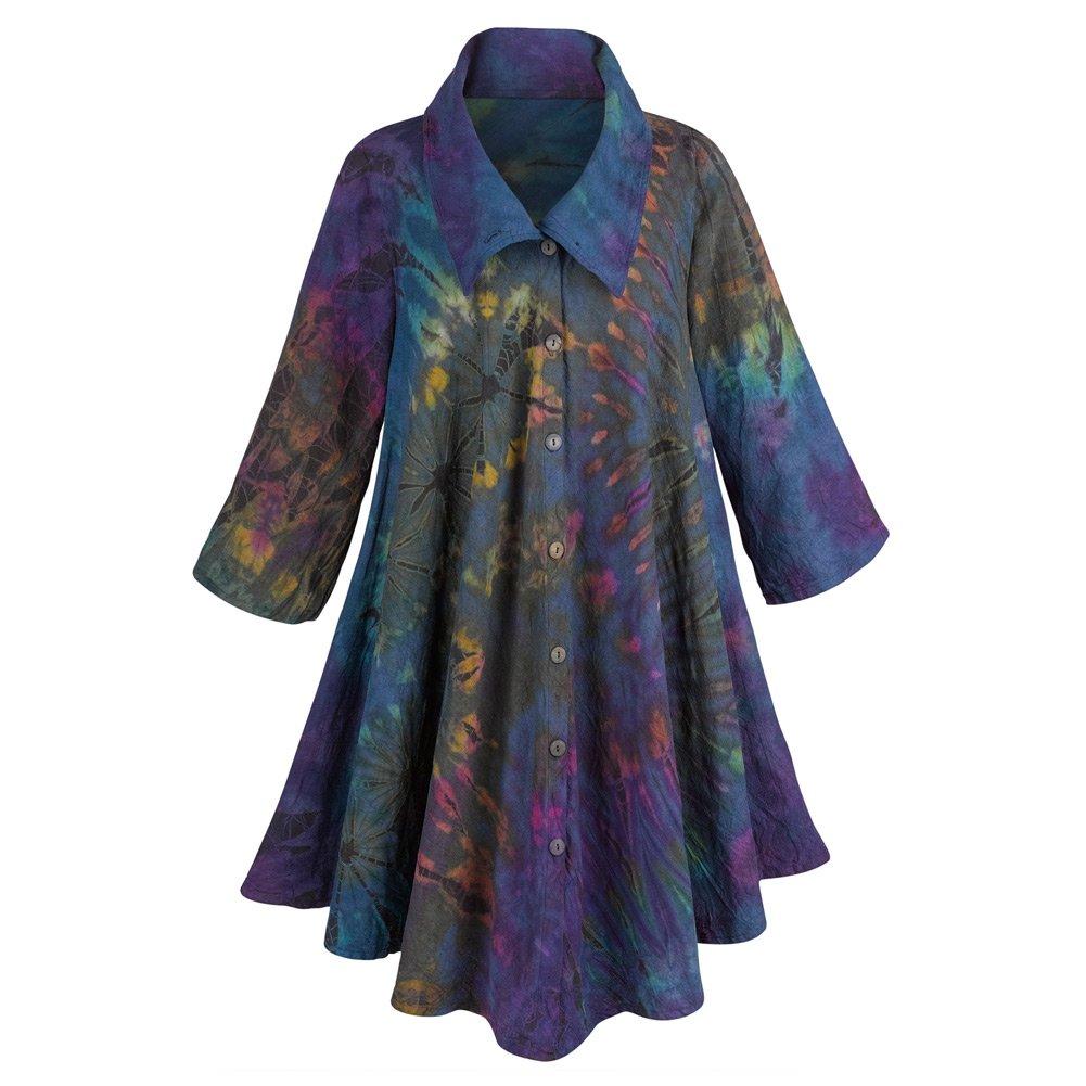 Women's Royal Garden Circle Coat - 100% Cotton in Purple Tie-Dye - XXL