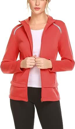 Guteer Women's Activewear Full-Zip Track Jacket Yoga Running Athletic Coat