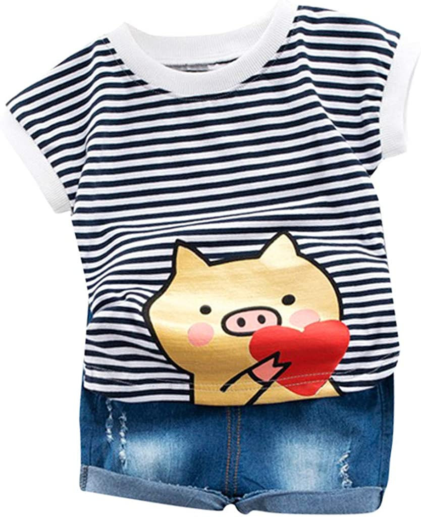 Vinjeely Newborn Boy Cartoon Airplane Printed Short Sleeve Tops Shorts Set Toddler Baby Outfits