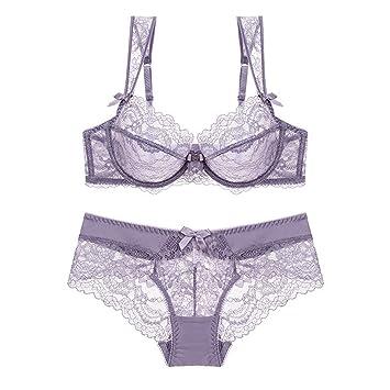MALLTY Conjunto de Sujetador Push up de Mujer, Fino, Transparente, Encaje Conjunto de Balconette y Ropa Interior sin Forro (Color : Purple, Size : 38B): ...
