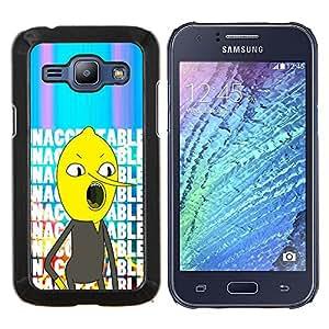 EJOOY---Cubierta de la caja de protección para la piel dura ** Samsung Galaxy J1 J100 ** --texto inaceptable personaje de cómic