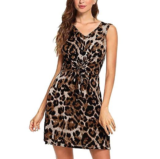 af5de12bec4121 Women Leopard Print Sleeveless Dress