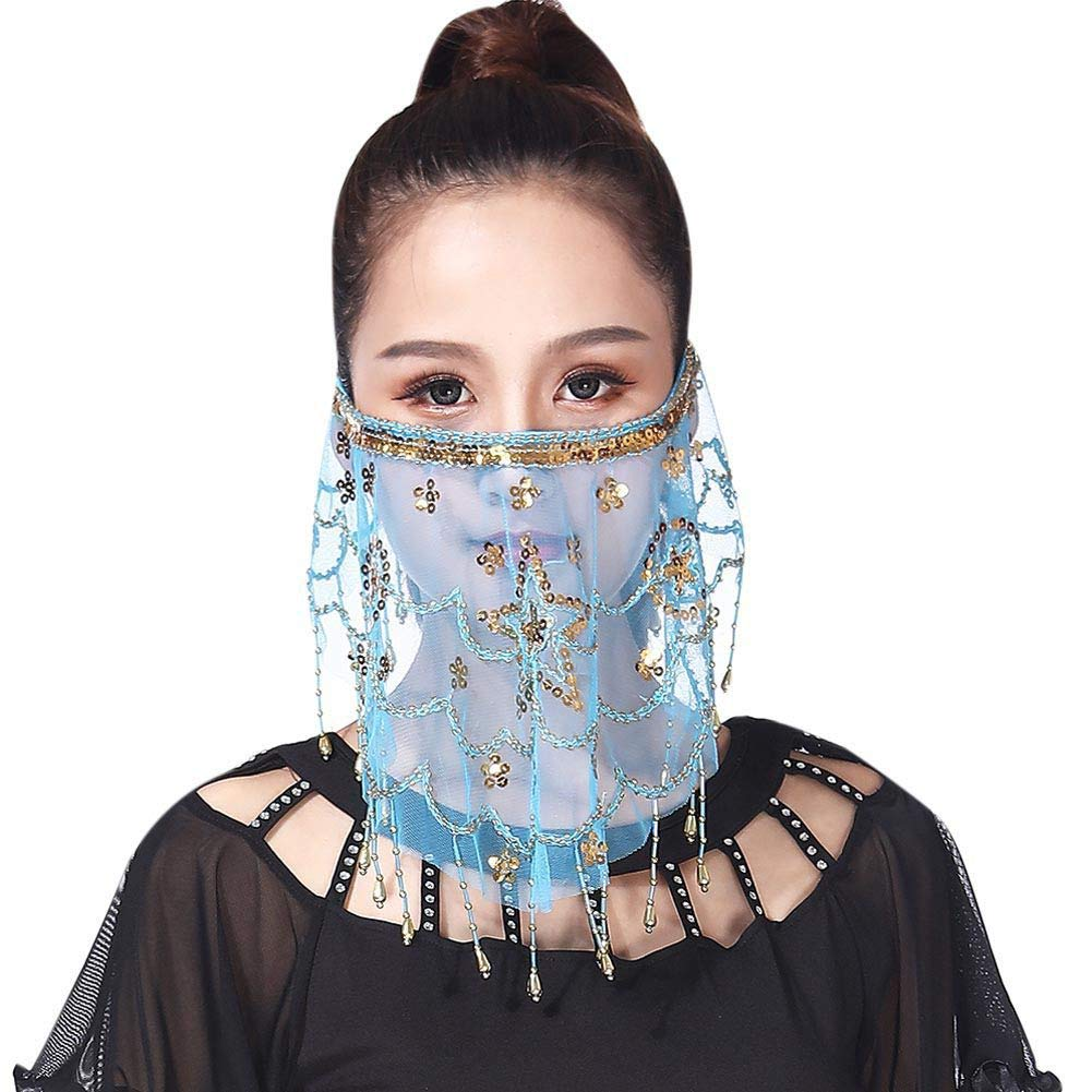 Miyanuby Belly Dance Accessories Women Belly Dance Face Veil With Sequins