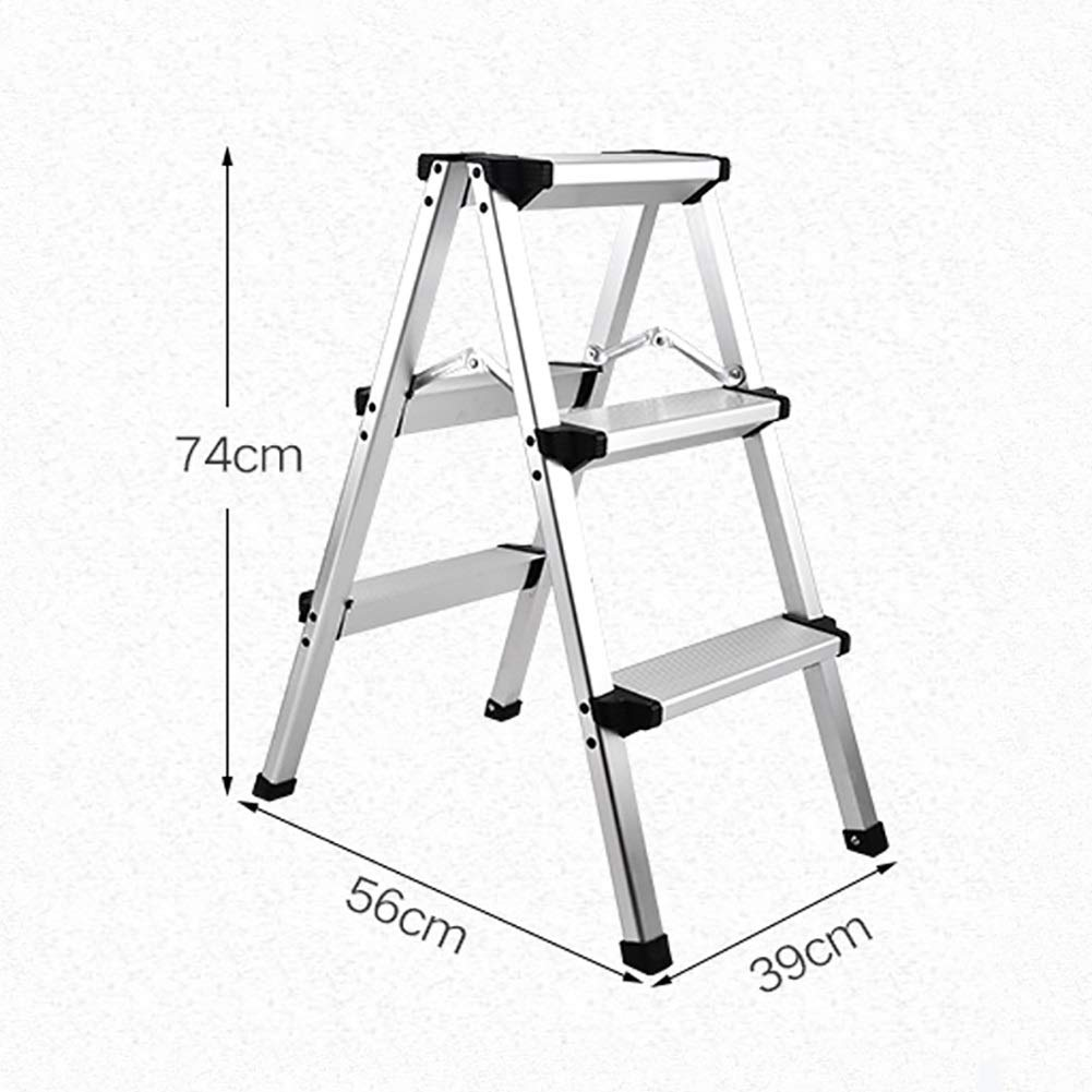 3 Steps PLLP Household Step Stool, Photography Folding Step Stool, Step Stools Folding Step Stool for Adult Seniors, Kitchen Office Stepladders for 330 Capacity, Ivory White Full Size Step Stool with Wide Pe