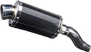 "Delkevic De-Cat Aftermarket Slip On compatible with Kawasaki Ninja 300 DS70 9"" Carbon Fiber Oval Muffler Exhaust 13-17"