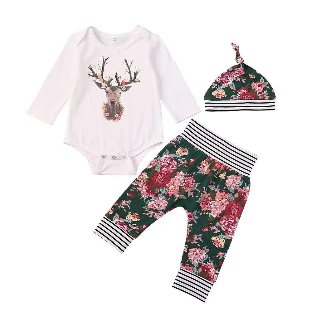 SUPEYA Baby Girls Christmas Outfit Long Sleeve Deer Romper+Floral Striped Pants Set