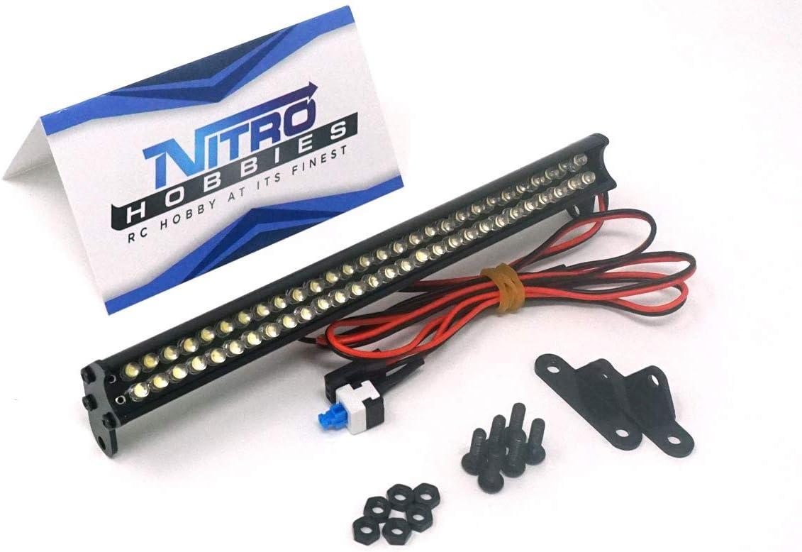 Nitro Hobbies 1//10 Aluminum White Super Bright LED Light Bar w// Long Mount Silve
