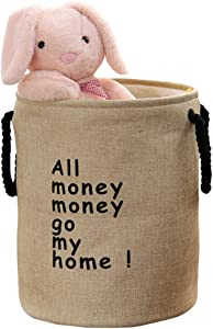 Mai Hongda Foldable Laundry Hamper Container Waterproof Cotton Linen Collapsible Kids Toys Clothes Storage Organizer Basket Bag Washing Bin Easy Carry Nursery Room Dormitory (Round RA1)