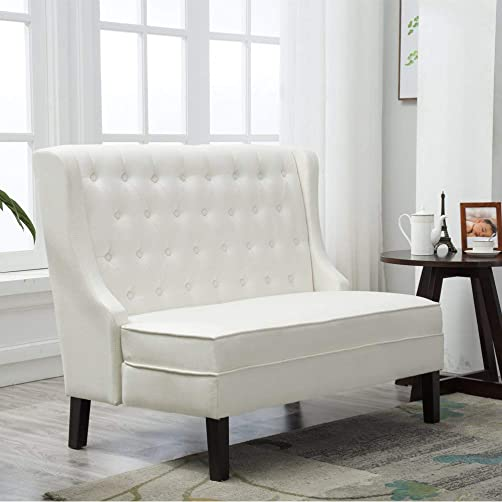 Andeworld Tufted Loveaseat Settee Sofa Bench for Dining Room Beige 1