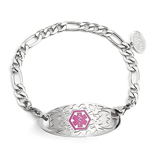 BBX JEWELRY Medical Alert Bracelets Interchangeable Pink ID Tag with  Stainless Steel Figaro Chain for Women Girls