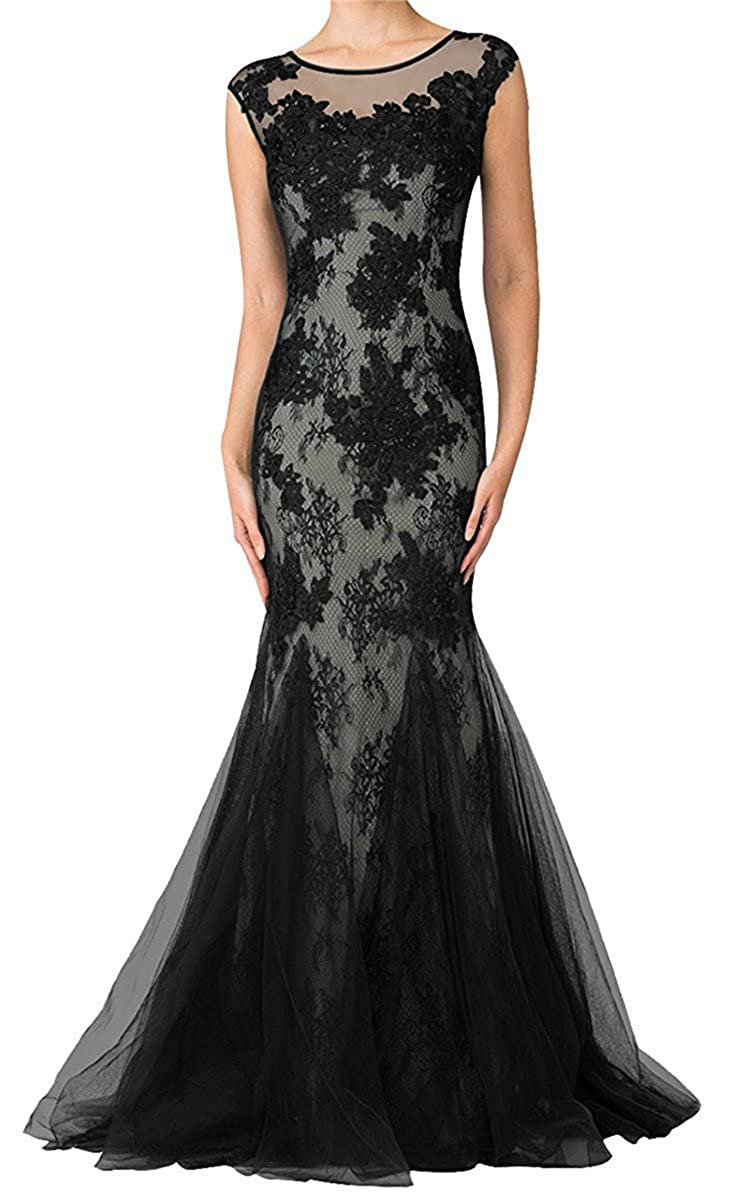 Black Yiweir Women's Mermaid Prom Dresses 2018 Long Bodycon Tulle Lace Formal Gown YP020