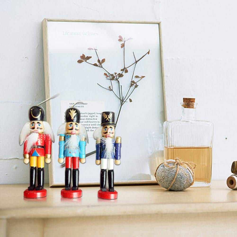 Alberi di Natale Deco Ornamenti Natalizi in Legno Schiaccianoci Natale Decorazioni Natalizie Soldatini con Pupazzi 12cm 6pcs