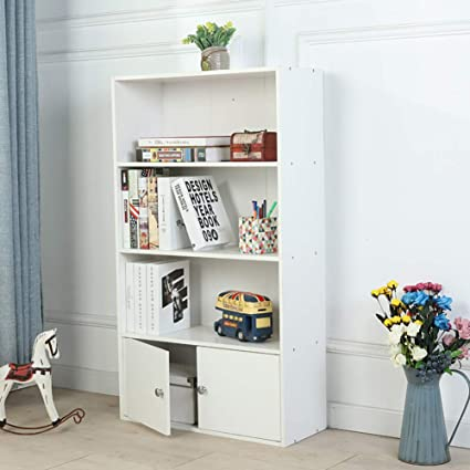 Amazon Hmdx Wood Bookcase With Doors 3 Tiervintage Bookshelf