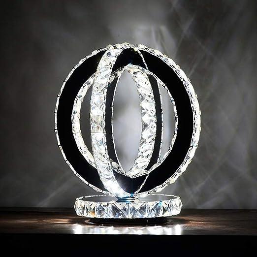 Lámpara de mesa transparente con cristal K9, luz de acento anular ...