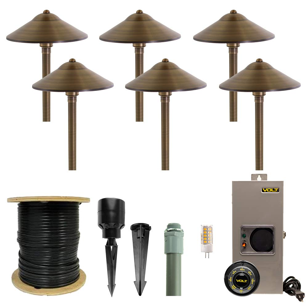 VOLT Lighting 6 Light LED Landscape Lighting Kit – Includes 6 Professional-Quality, Solid Brass Path & Area Lights, Bulbs, Transformer, Cable and Hub