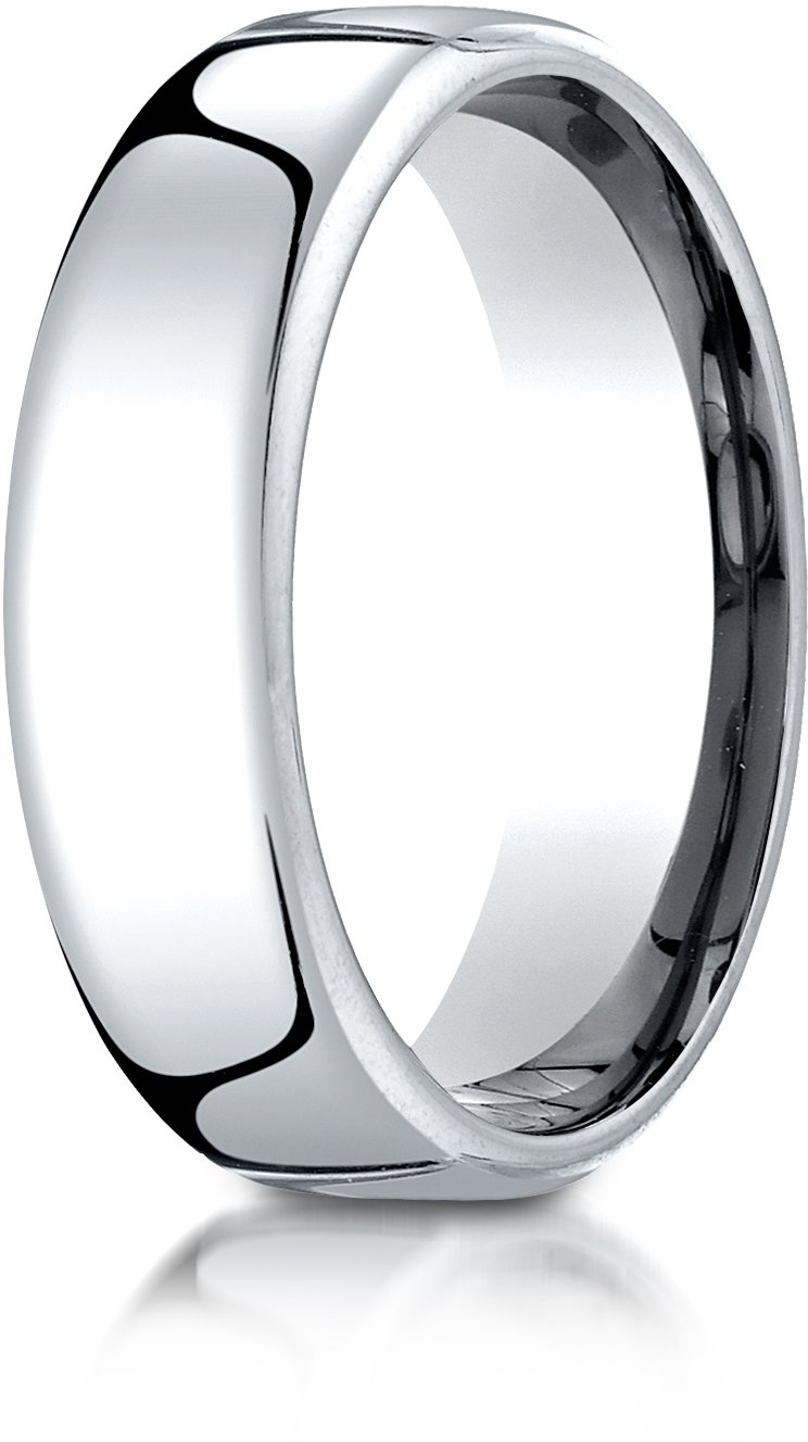 Benchmark 10K White Gold 6.5mm European Comfort-Fit Wedding Band Ring, Size 9 by BANVARI