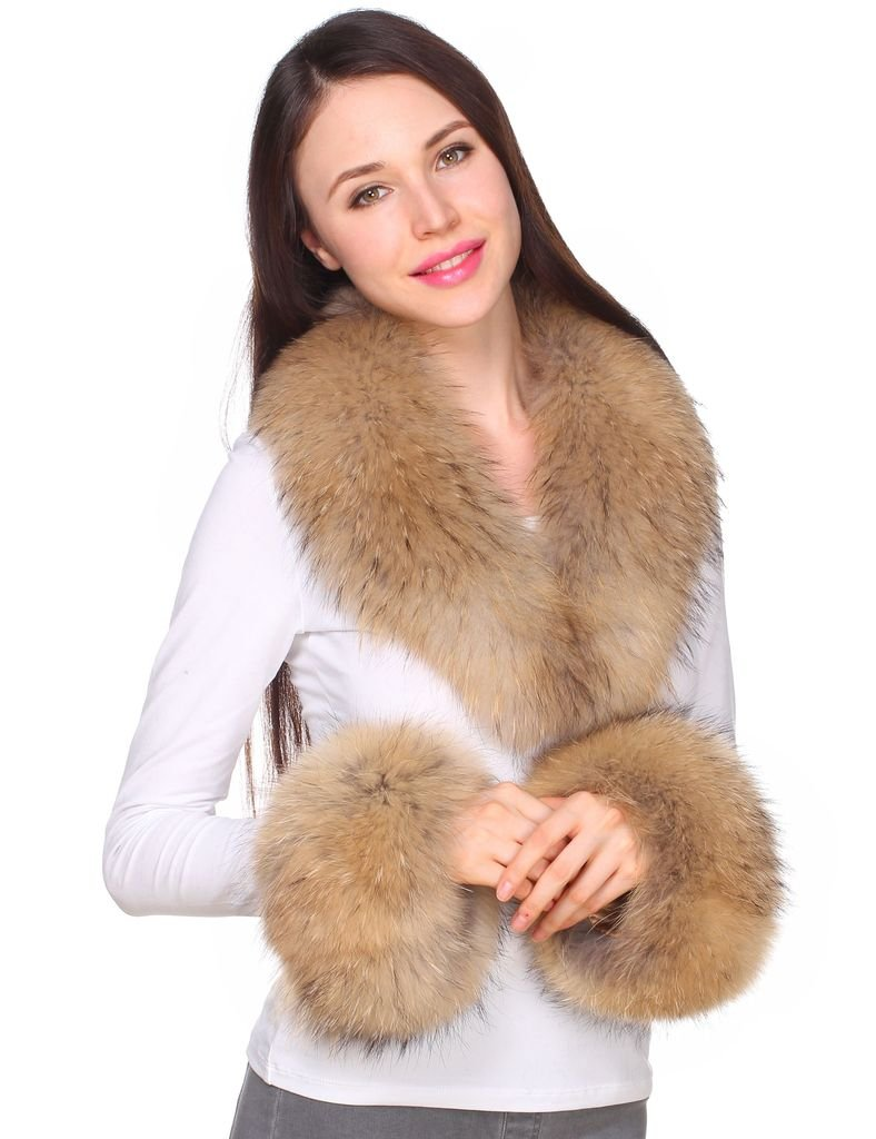 Ferand Women's Real Raccoon Fur Collar Scarf with 2 Matching Cuffs for Parka Jacket Winter Coat in Light Natural Color,31.5 inch by Ferand (Image #3)