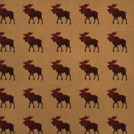Moose Red Forest Premium Kraft Roll Gift Wrap Wrapping Paper