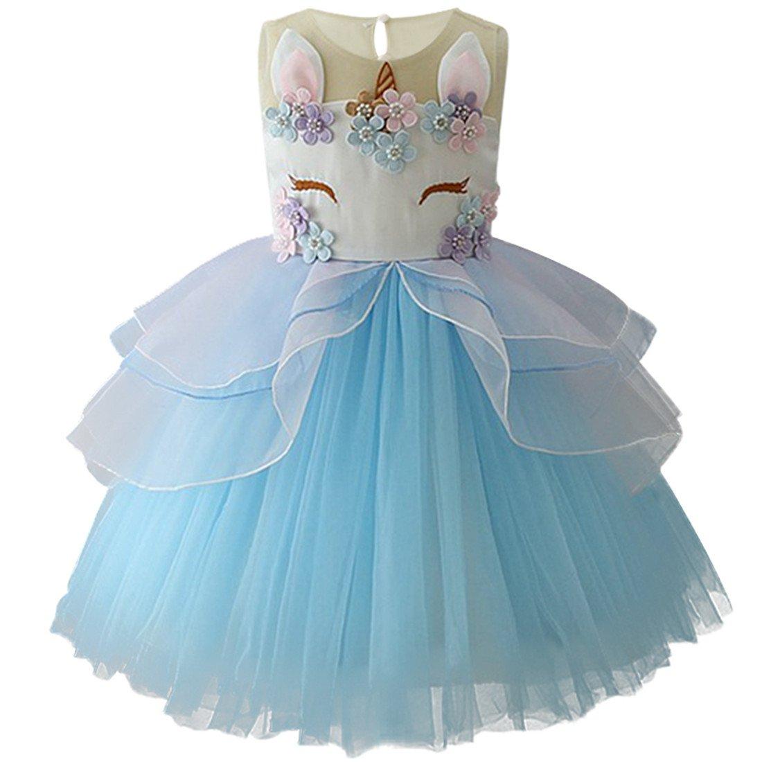 EUDOLAH Baby Kleid Maedchen Kinder Unicorn Einhorn Feierlich Dress Blumen Kleid Party Hochzeit