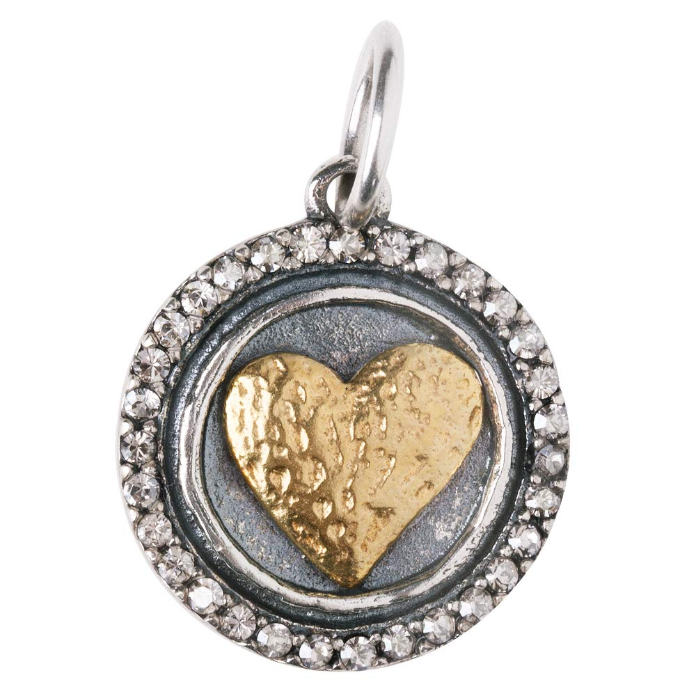 Waxing Poetic Heart's Content Charm - Sterling Silver, Brass & Swarovski Crystals by Waxing Poetic