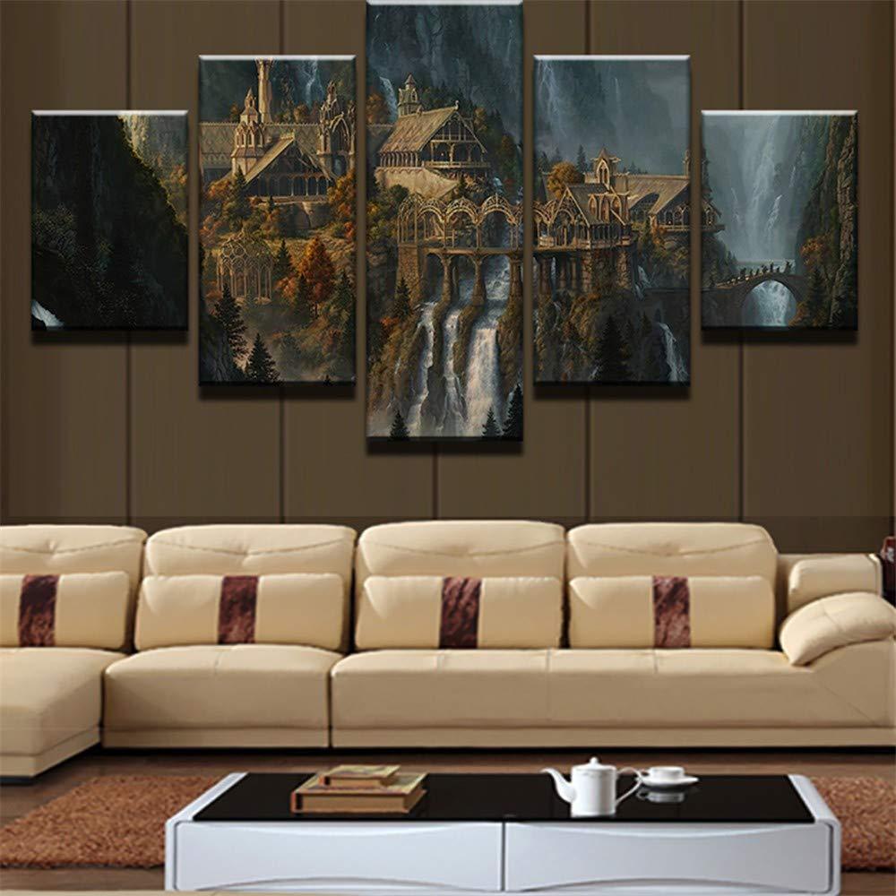 KDLLK Leinwandbilder Poster Wand Modulare Bild 5 Panel Herr Der Ringe Dekoration Wohnzimmer Moderne Gemälde Kunstwerk Kein Rahmen Wandgemälde-40x60CMx2 40x80CMx2 40x100CM