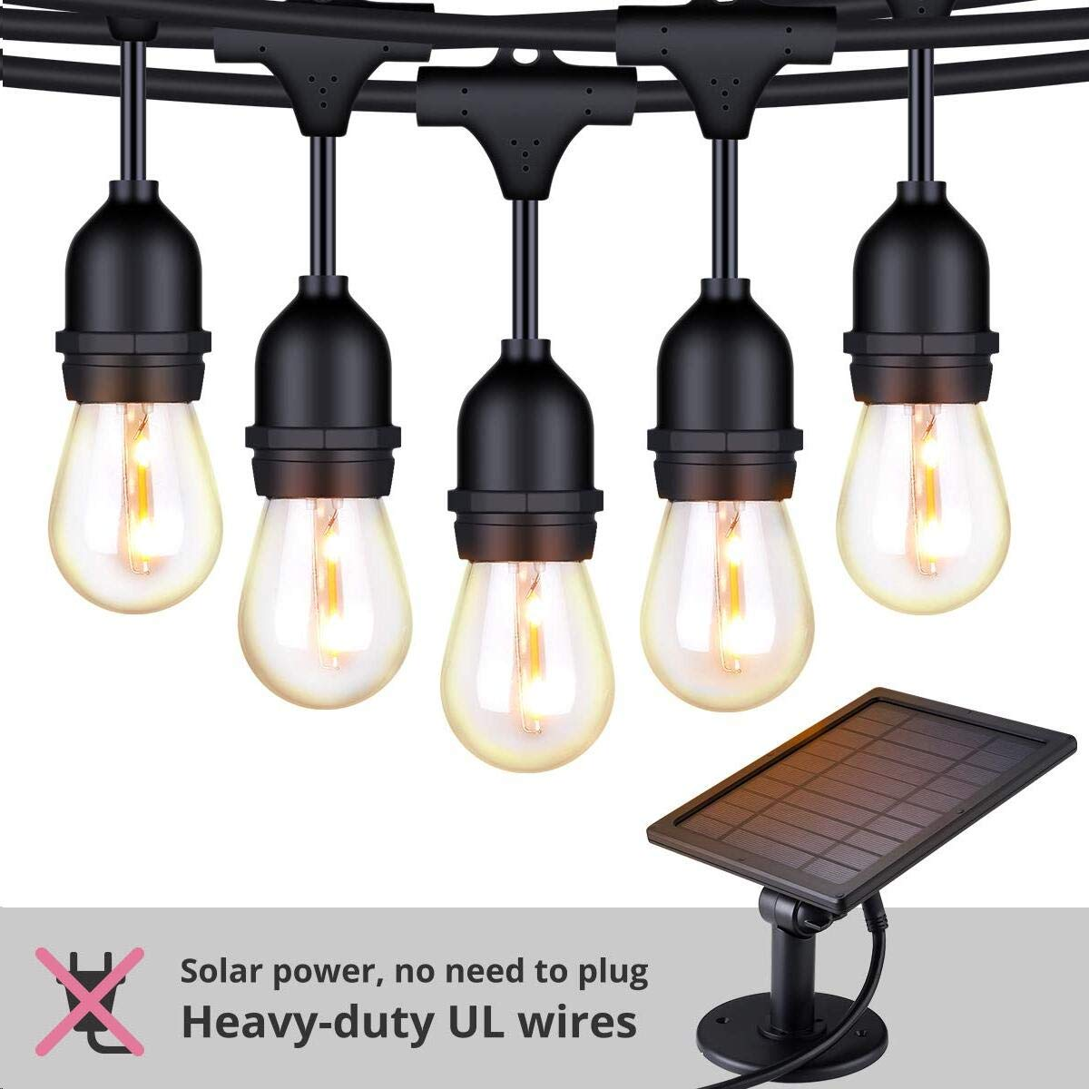 Foxlux Solar String Lights - 48FT LED Outdoor String Light - Shatterproof, Waterproof Pergola Lights - 15 Hanging Sockets, Light Sensor, S14 Edison Bulbs - Ambience for Patio, Backyard, Garden, Bistro by FOXLUX (Image #1)