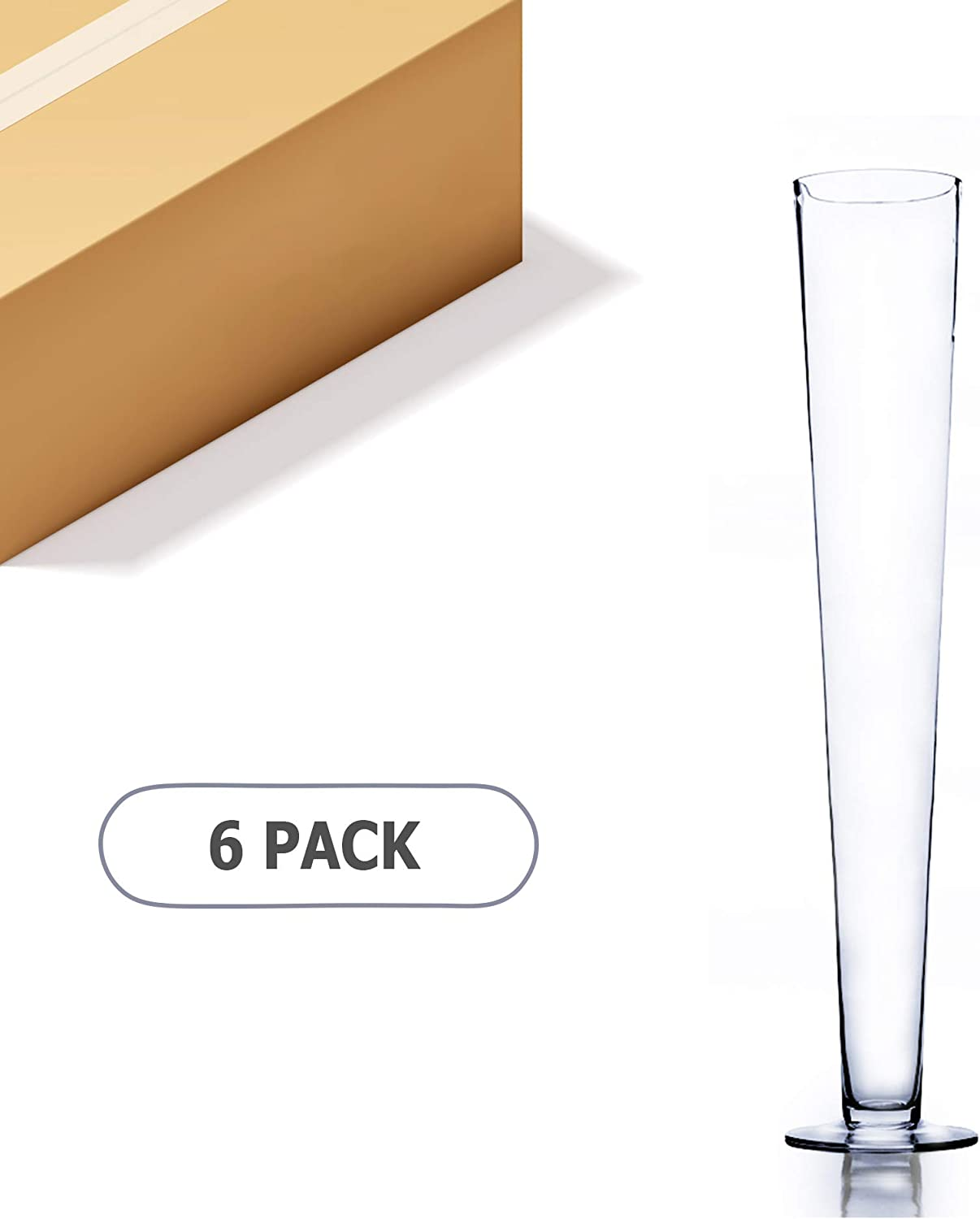 Amazon Com Wgv Trumpet Glass Vase Bulk Open 4 Height 23 5 Clear Elegant Unique Tall Pilsner Floral Planter Container Centerpiece For Wedding Party Event Office Home Decor 6 Pieces Home Kitchen