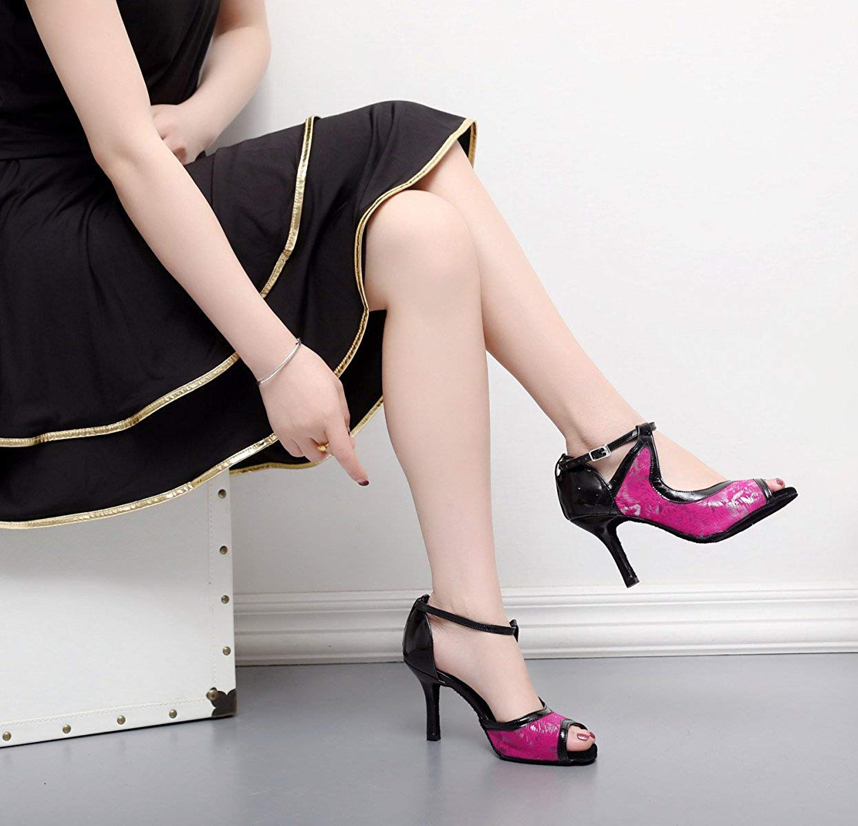 HhGold Lateinamerikanische Tanzschuhe Tanzschuhe Tanzschuhe für Damen Salsa Tango Chacha Samba Modern Jazz Schuhe Sandalen Hohe Absätze Rosa Absatz7.5cm-DE2.5   EU32   Our33 3dfbf1