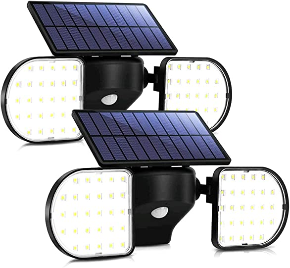 Sunenvoy Solar Light Outdoor with Motion Sensor, Solar Wall Light with Dual Head Spotlights 56LED Waterproof 360-Degree Rotatable Solar Security Light Outdoor for Garden Solar Lights Wireless 2 pack
