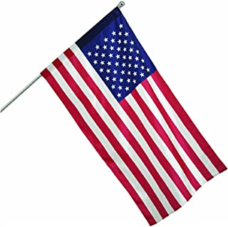 product image for Valley Forge, American Flag, Nylon Dyed, 2.5' x 4', 100% Made in USA, Sleeved Flag, 5-Foot Brushed Aluminum Pole and Bracket