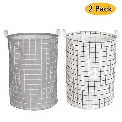 Yoweenton 2 Pack Folding Cylindric Laundry Hamper, 19 Inch Fabric Laundry Basket, Waterproof Coating Canvas Cotton Kids Laundry Storage Basket by Yoweenton