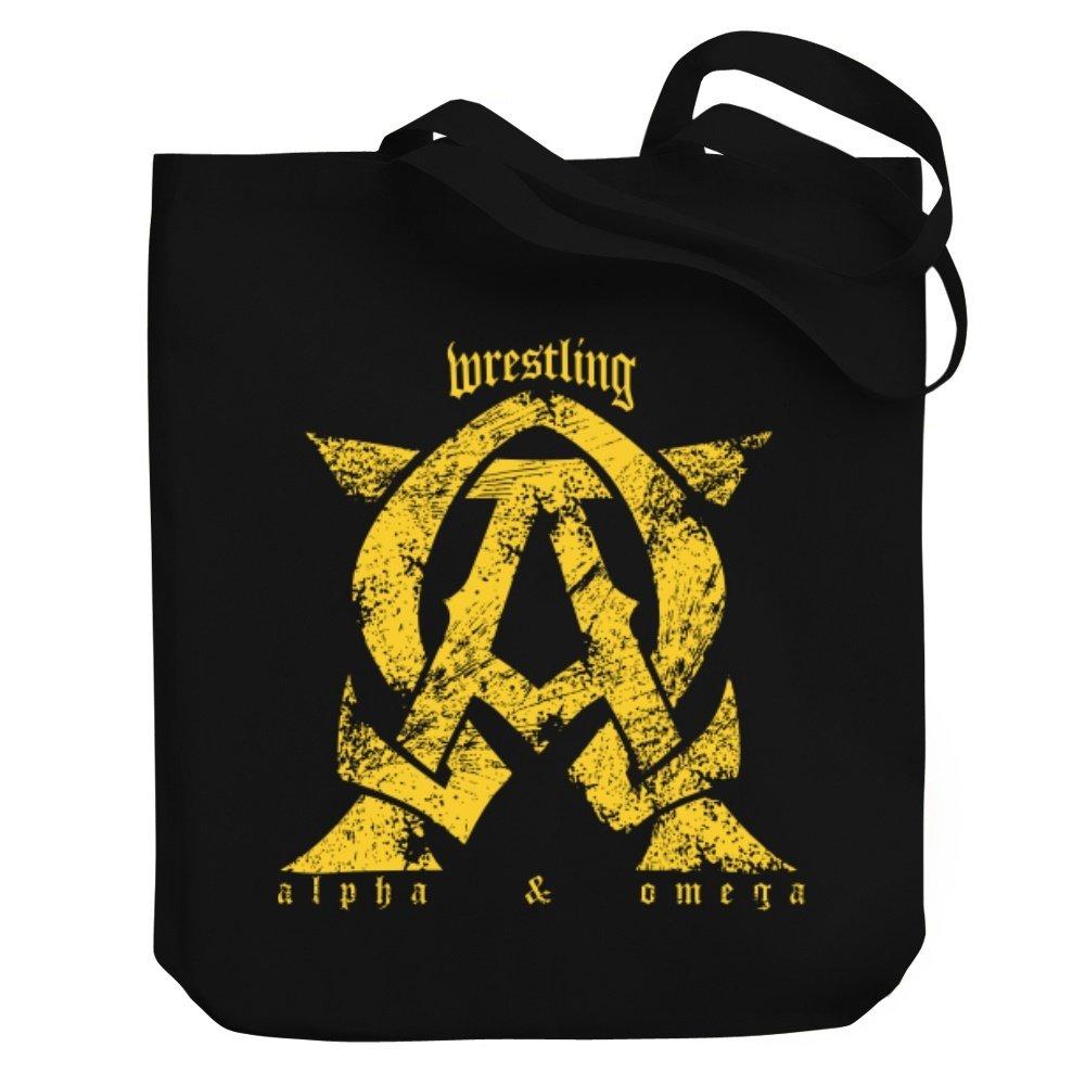 Teeburon Wrestling ALPHA AND OMEGA Canvas Tote Bag