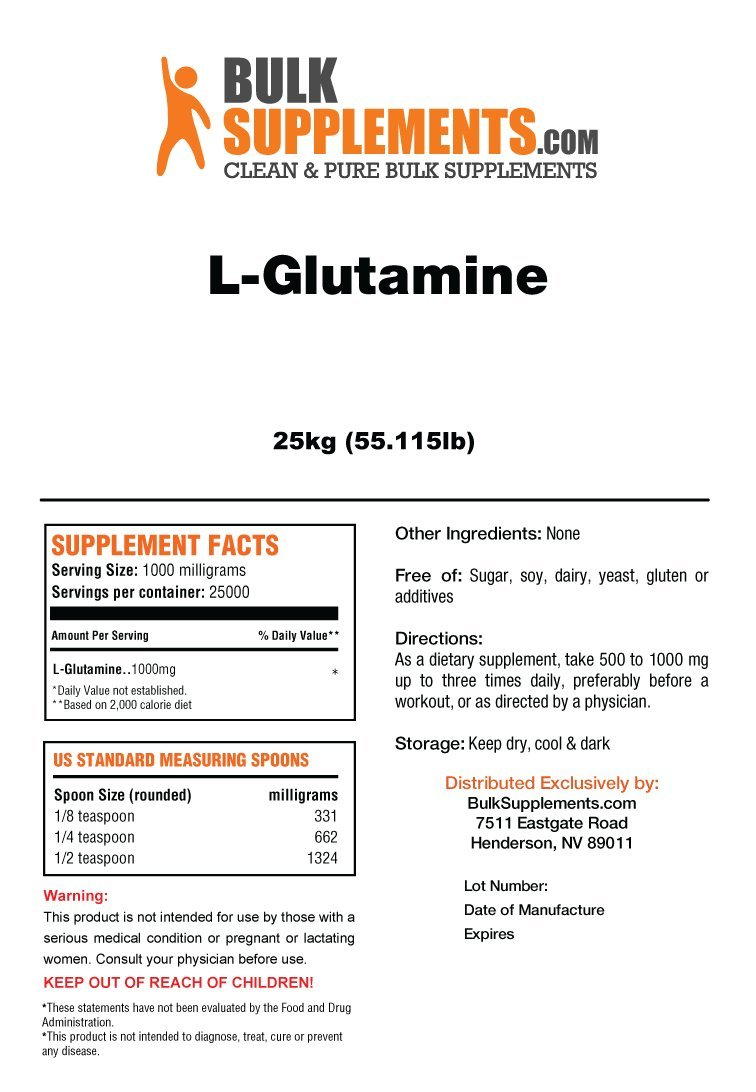 BulkSupplements L-Glutamine Powder (25 Kilograms)