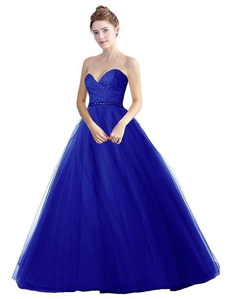 Abendkleider Damen Lang Prinzessin Luckyshe Tüll Elegant Ballkleider rsxthQdCBo